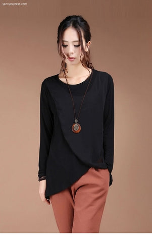 Asymmetrical Wrap Hem Top - YannyExpress  - 1