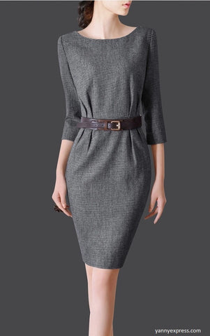 Bateau Neck Colorblock Sheath Dress - YannyExpress  - 1