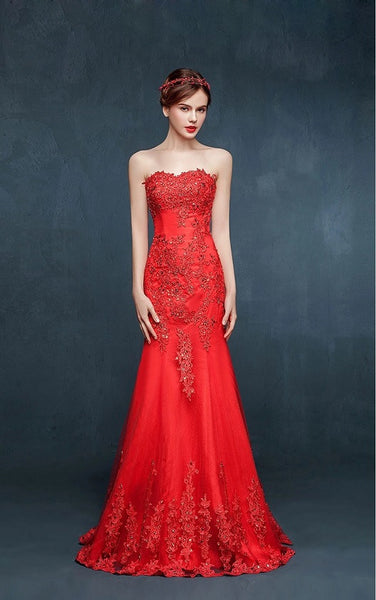 Beaded Illusion Gown - YannyExpress  - 1