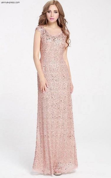 Beaded Sequin Lace Gown - YannyExpress  - 1