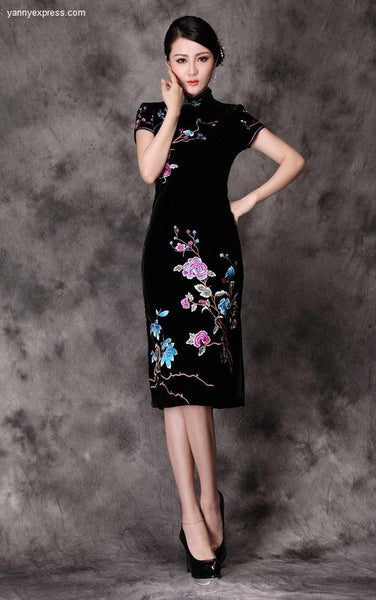 Black Cheongsam Oil Painting Wine Red Flowers Gown Qipao - YannyExpress  - 1