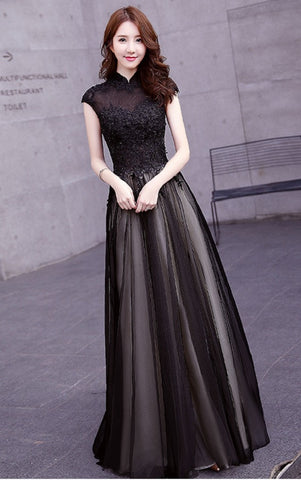 Black Zarita Lace Qipao Gown