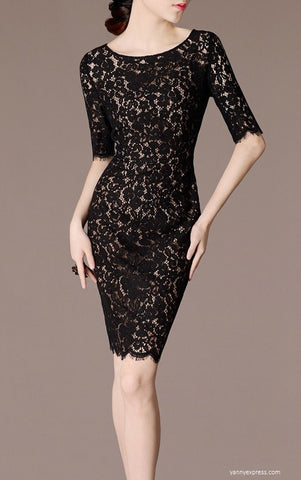Boatneck Lace Sheath Dress - YannyExpress  - 1