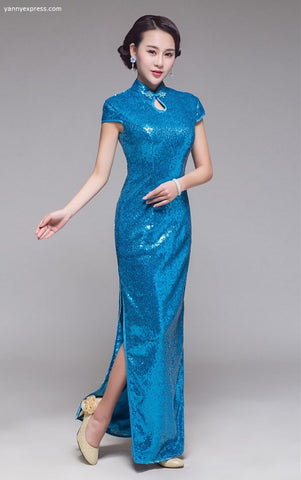 Cap Sleeve Sequin Party Cheongsam - Blue - YannyExpress  - 1
