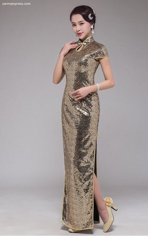 Cap Sleeve Sequin Party Cheongsam - Gold - YannyExpress  - 1