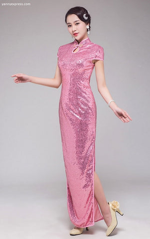Cap Sleeve Sequin Party Cheongsam - Pink / Green - YannyExpress  - 1