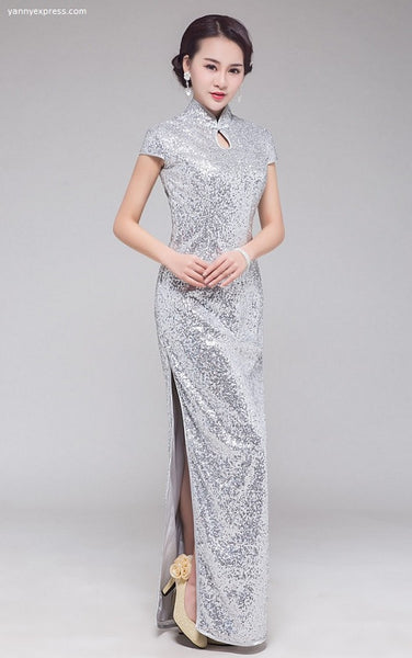Cap Sleeve Sequin Party Cheongsam - Silver - YannyExpress  - 1