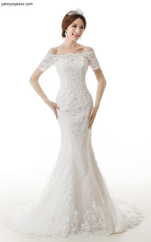 Chantilly Lace Trumpet Wedding Gown with Illusion Sleeves - YannyExpress  - 1