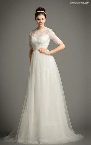 Chantilly Lace with Stretch Silk Charmeuse Slip Wedding Dress - YannyExpress  - 1