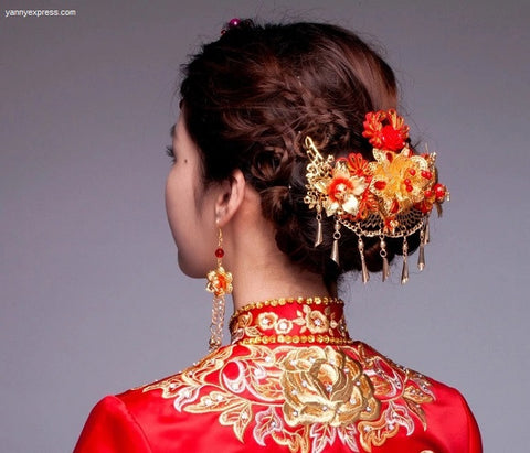 Chinese Bridal Hair Comb Kwa Qun - YannyExpress  - 1