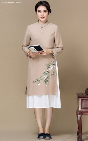 Chinese Cotton Long Coat - YannyExpress  - 1