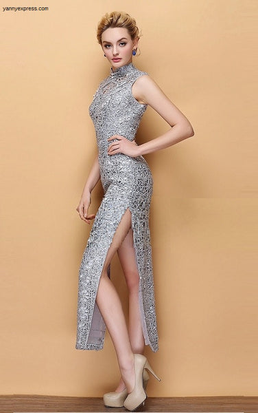 Chinese Embroidered Sequin Qipao Beaded Illusion Gown - YannyExpress  - 1