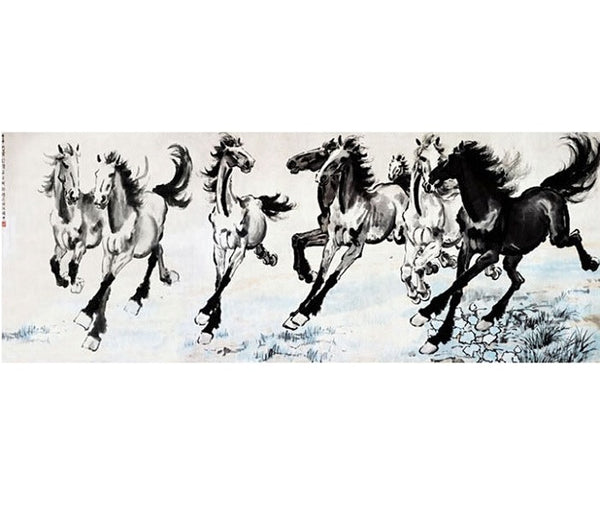 "Chinese Fine Art Painting ""Eight Horses"" by Xu Beihong 徐悲鴻 ""八駿圖"" - YannyExpress  - 1"