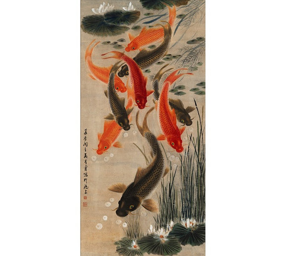 "Chinese Fine Art Painting ""Nine Koi"" by Wu Qingxia ""九魚圖鯉魚"" 吳青霞 - YannyExpress  - 1"