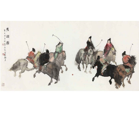 "Chinese Fine Art Painting ""Polo"" by Peng Xiancheng 彭先诚 ""马球图"" - YannyExpress"