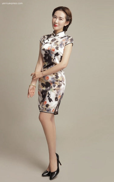 Chinese Floral Print Party Qipao - YannyExpress  - 1