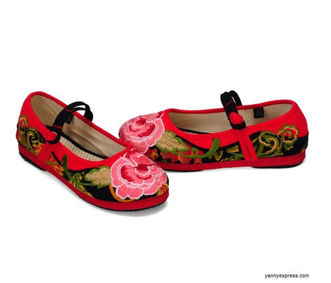 Chinese Old-Peking Style Wedding Shoes - YannyExpress  - 1