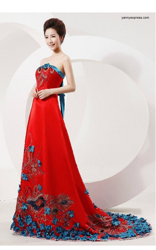Chinese Style Wedding Gown Phoenix Bridal Sequined Prom Dress ...