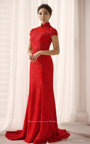 Chinese Wedding Ball Gown Bridal Cheongsam Long Prom Qipao - YannyExpress  - 1