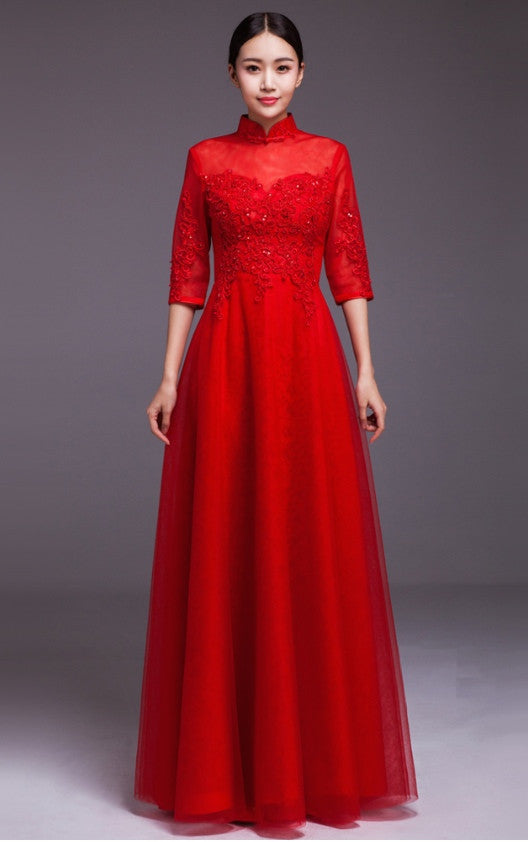 513f016efe0 Chinese Wedding Beaded Embroidered Ballgown Qipao - YannyExpress - 1