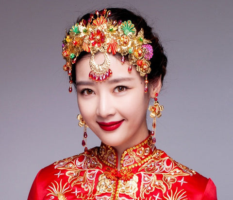 Chinese Wedding Beading Crown for Kwa Qun - YannyExpress  - 1