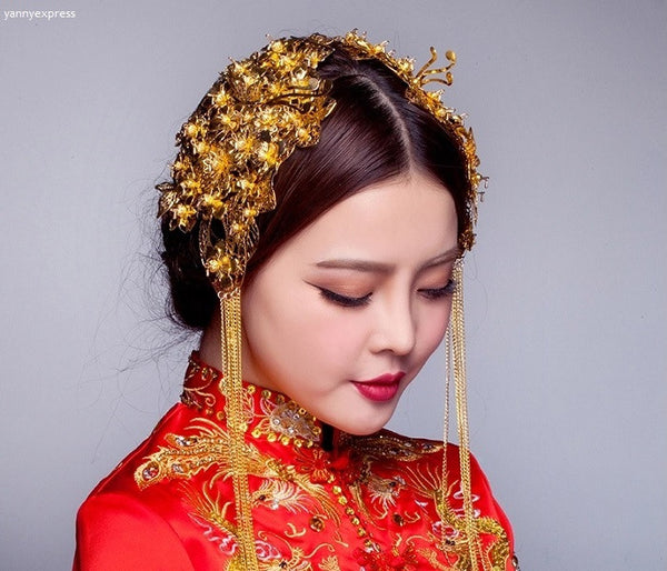 Chinese Wedding Double Hairpieces for Kwa Qun - YannyExpress  - 1