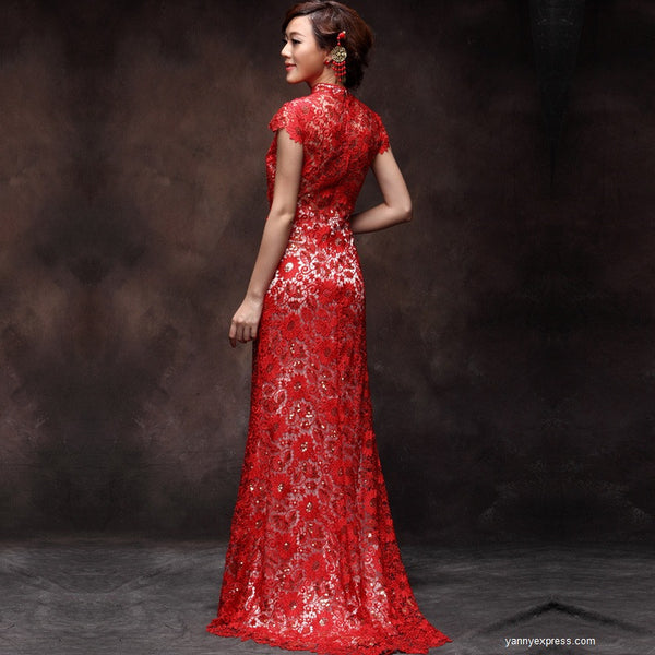 Chinese Wedding Dress Red Lace Gown Bridal Reception Cheongsam ...