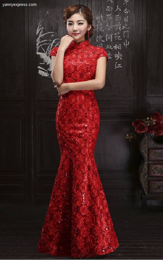 Chinese Wedding Dress Ruched Lace Allover Qipao Bridal Reception ...