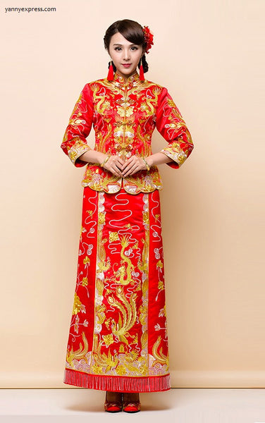 Chinese Wedding Embroider Traditional Qun Kwa Gold Silver Thread - YannyExpress  - 1