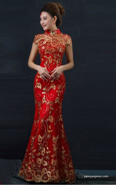 Chinese Wedding Fishtail Gown Cheongsam Bridal Evening Dress - YannyExpress  - 1