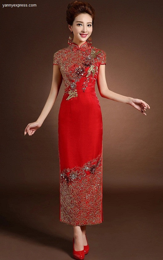 7f0f029c343 Chinese Wedding Gown Bridal Sequined Embellished Qipao - YannyExpress - 1