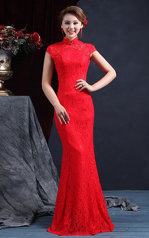 Chinese Wedding Gown Cheongsam Fishtail Lace Red Maxi - YannyExpress  - 1