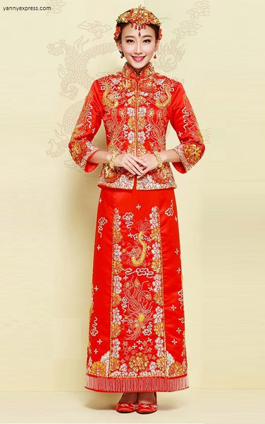 Chinese Wedding Gown Grand Embroidery Kwa Qun - YannyExpress  - 1