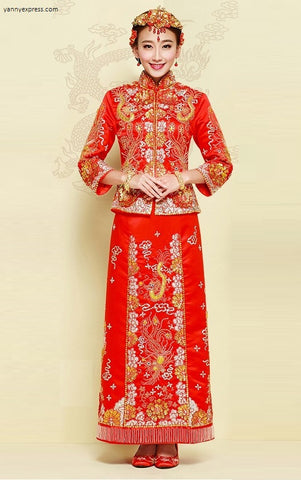 Chinese Wedding Gown Grand Embroidery Kwa Qun