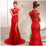 Chinese Wedding Gown Mandarin Collar Bridal Illusion Exquisite Dress - YannyExpress  - 4