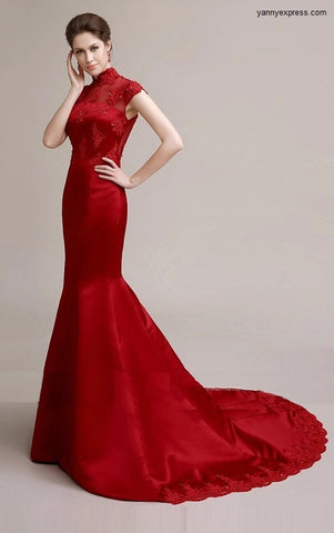 Chinese Wedding Gown Mermaid Crimson Evening Bridal Reception Qipao - YannyExpress  - 1