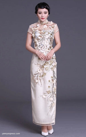 Chinese Wedding Gown Traditional Bridal Sequined Cheongsam - YannyExpress  - 1