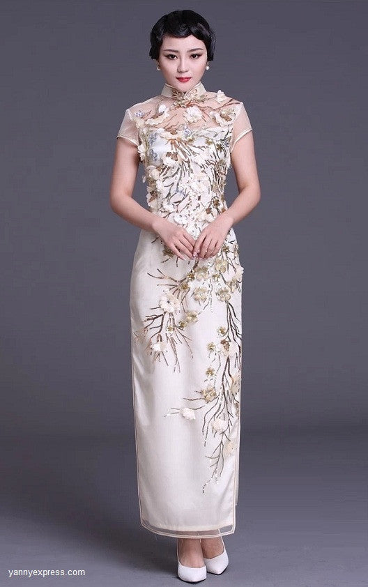 c2cd7acd4 Chinese Wedding Gown Traditional Bridal Sequined Cheongsam - YannyExpress -  1