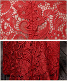 Chinese Wedding Grand Red Qipao Gown Lace Allover Reception Dress - YannyExpress  - 6