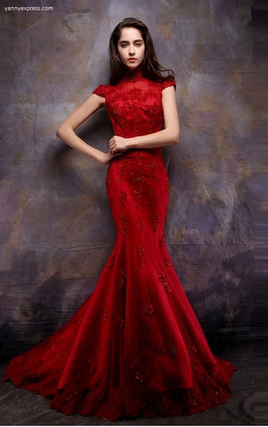 Chinese Wedding Lace Gown - YannyExpress  - 1