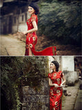 Chinese Wedding Qipao Gown Long Slits Bridal Traditional Cheongsam - YannyExpress  - 6