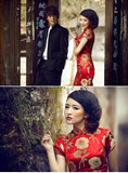Chinese Wedding Qipao Gown Long Slits Bridal Traditional Cheongsam - YannyExpress  - 7