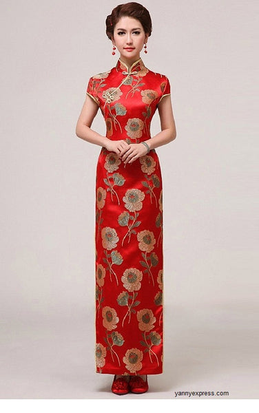 Chinese Wedding Qipao Gown Long Slits Bridal Traditional Cheongsam - YannyExpress  - 1