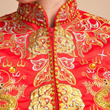 Chinese Wedding Qun Kwa Dragon & Phoenix Embroidery Gown - YannyExpress  - 6