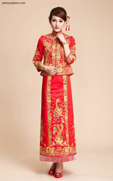 Chinese Wedding Qun Kwa Dragon & Phoenix Embroidery Gown - YannyExpress  - 1