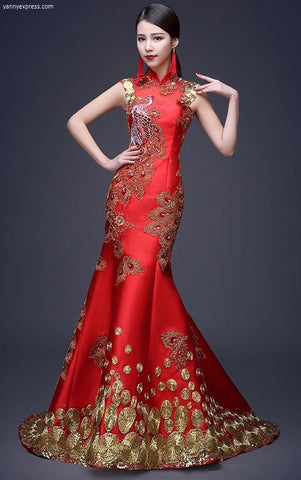 Chinese Wedding Sequin Lace Phoenix Qipao Gown - YannyExpress  - 1