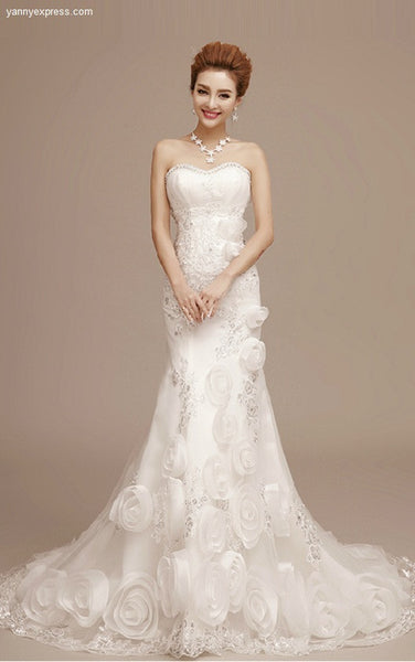 Crinkle Chiffon Fit and Flare Wedding Dress with Skirt Flanges - YannyExpress  - 1