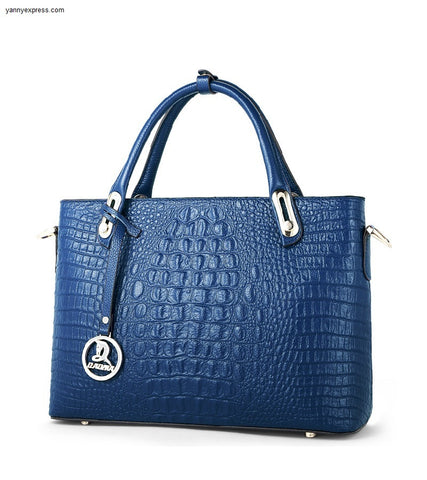 Dillon Croc Embossed Leather Tote - YannyExpress  - 1