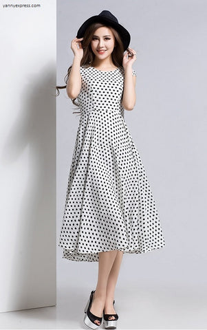 Dot Faille Fit & Flare Dress - YannyExpress  - 1