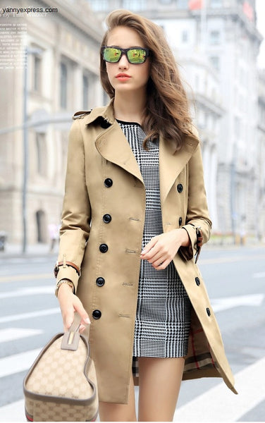 Double Breasted Trench Coat - YannyExpress  - 1